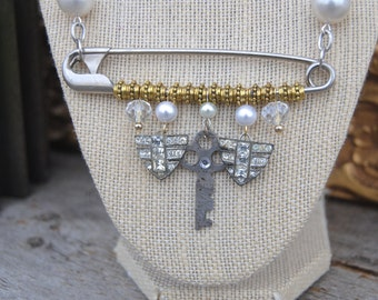Pearls & Pin Assemblage Necklace