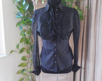 Vintage Black Blouse with Rhinestones and Lace Size XS by Bebe XS Edgy Blouse Victorian Blouse Elegant Blouse Avant Garde Blouse 80s Blouse