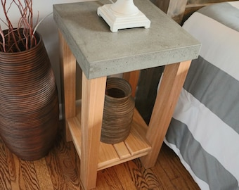 Concrete & Hickory End Table, Nightstands, Coffee Table, Side Tables, End Tables, Pedestal, Plant Stands