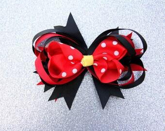 Minnie Mouse Hair Bow, Minnie Mouse Hair Clips, Disney Bow, Mickey Mouse Bow, Disney Hair Clip, Mickey Mouse Hair Clip, Disney