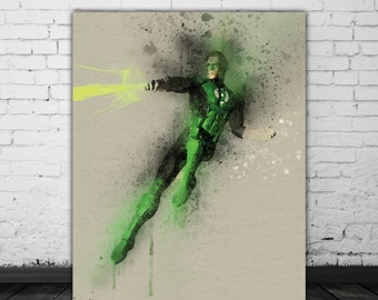 Green Lantern Art, Superhero Bedroom Decor, DC Wall Art, Comic Poster, Movie Decor, DC Comics Print Download, Black Green Watercolor Poster