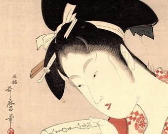 "1923, Japanese vintage Woodblock print, antique, Kitagawa Utamaro, ""A beauty"""