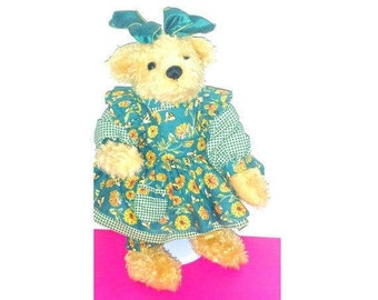 ADG Teddy Bear Belinda, Mary Holstad,Ashton Drake Galleries,Signed,Sunflower Teddy Bear,Stuffed Animal,Shelfie,Easter, Bear Plushie,1996