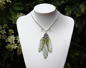Green Dragonfly Pendant - Gossamer Fairy/Faerie Butterfly Cicada Wing Statement Necklace