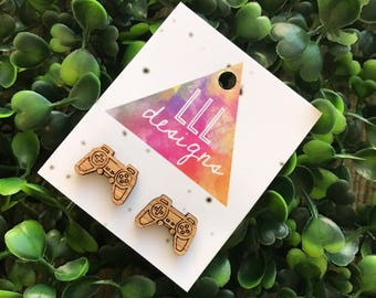 Video Game Controller Bamboo Stud Earrings. Laser Cut Bamboo Earrings. Gamer Earrings. Life's too Short to wear boring Jewellery!