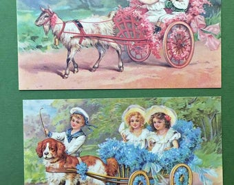 Victorian Children in Carriages Roses Forget Me Not Flowers New Postcard Set of 2