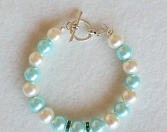 Teal and ivory glass pearl bracelet
