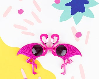 Flamingo sunglasses - tropical party -  accessory for a tropical photobooth