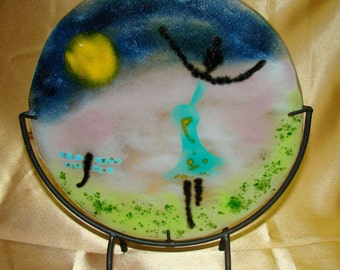 dancing lady, dragon fly, summer time, Artistic fused glass, displayable, Dancing, Lady, Goddess, music time, dancer, music lover, for her