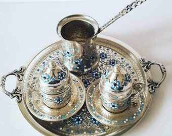 Traditional Design Hand Made Copper Turkish Coffee Set for Two with Coffee Pot and Tray