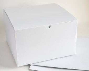 "Bridesmaid Gift Boxes, 5 Large Gift Boxes, White Boxes, Favor Boxes, Wedding Boxes, Proposal Boxes, Paper Boxes,  9"" x ""9 x 5.5"""