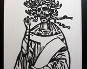 St Bertha Linocut- Grateful Dead Art