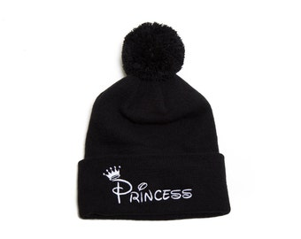 Princess Pom Pom Beanie Embroidered  Hat