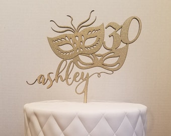 Masquerade Mask Cake Topper - Customize with name and age