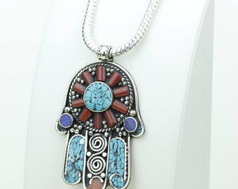 Nice! Coral Turquoise Native Tribal Ethnic Vintage Nepal Tibetan Jewelry OXIDIZED Silver Pendant + Chain P3975