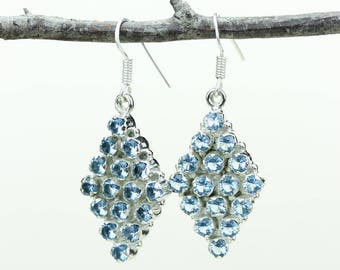 Blue Topaz 925 SOLID (Nickel Free) Sterling Silver Italian Made Dangle Earrings e600