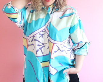 Vintage 80s Graphic Print High Low Button Up Tunic