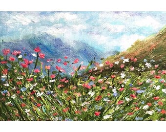 Mountains, wild flowers, sky acrylic landscape painting