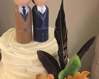 Mr & Mr Cake Toppers - Personalised Wedding Cake Toppers  - Peg Doll Cake Toppers - Groom and Groom Toppers - Civil Partnership Wedding
