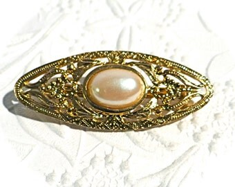 Vintage Gold Brooch Pearl Pin Jewelry Accessories VA-131