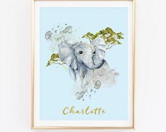 Elephant Print, Animal Print, Custom Name Print, Nursery Wall Art, Watercolor Print, Kids Room Print, Baby Shower, Baby Room Print, D81-9