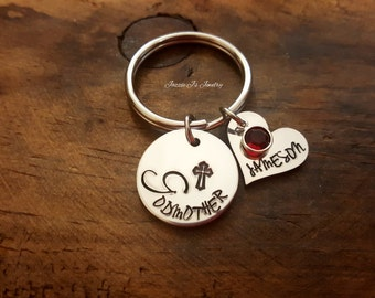 Handstamped Godmother Keychain, Personalized Godmother Keyring, Baptistim Gift for Godmother, Will You Be My Godmother, Godmother Gift