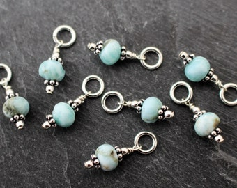 Rustic Blue Larimar Charms, Dangles. Set of 2 or 3. Earring Components, Sterling Silver