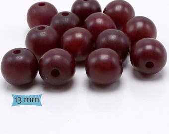 Round Copal Natural Resin Beads Burgundy Wine—5 Pcs   20-CP130A-5