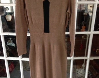 50's brown and black wool knit dress