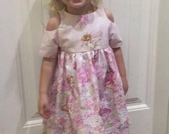 Girls Summer Dress with Shoulder Cut Outs, Curved Hem Michael Miller Petal Fairies Fabric