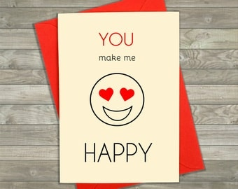 You Make Me Happy Card, Emoji Cards, Funny Love Cards, Boyfriend Card, Girlfriend Card, Card for Anniversary, Greeting Cards, Emoticon