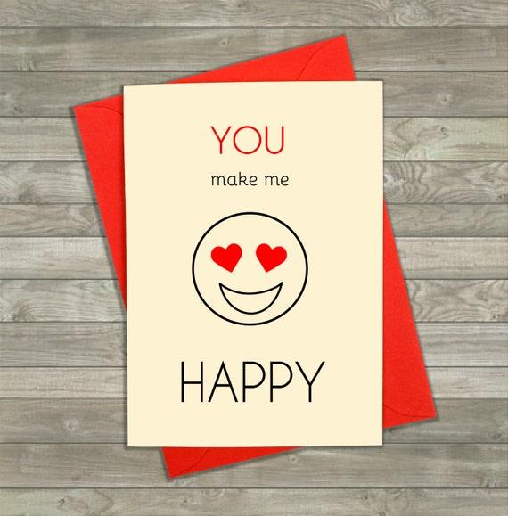 You Make Me Happy Card Emoji Cards Funny Love Cards  You Make Me Hap...