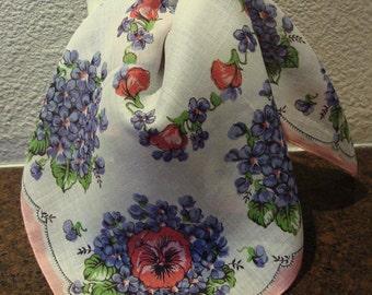 "Vintage 60's Ladies Handkerchief,  Violets & Pansy 14"" Inch Hankie, 1960's Retro Accessory, Mid Century Fashion Fun!"
