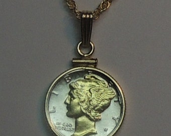 Old U.S. Mercury (Gold on Silver) dime  Necklace
