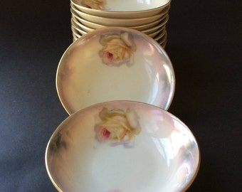Vintage Dessert Bowls/ Dipping bowls/ Made in Germany/ Gold Trimmed Rose Motif Dinnerware/