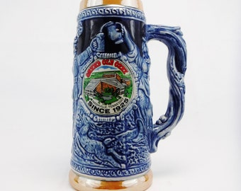Grand Ole Opry Stein Souvenir Beer Mug/Tall/Nashville/Country Music City/Cobalt Blue/70's/Vintage