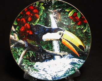 Decorative Display Plate/Collectible Bird Plate/Tropical Bird/Exotic Bird/Toucan/Limited Edition/80's Decor/Royal Cornwall/Hack/Vintage