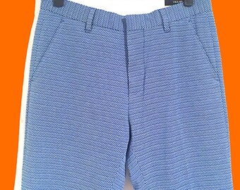 Slim Small point weave texture blue smart trousers // BRAND NEW one off Sample // Great Reduced Price