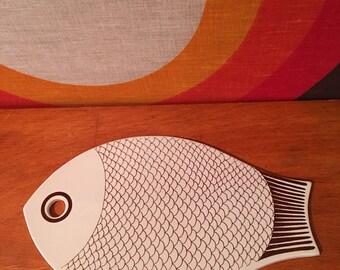 Vintage Arabia of Finland Fish Tray, Fish Trivet, Fish Cutting Board, Kaarina Aho, Mid Century Serving Platter, Scandinavian Fish Tray