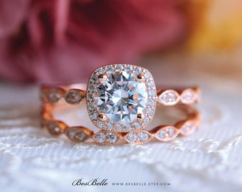 1.67 ct.tw Art Deco Bridal Set Ring-Halo Engagement Ring w/ All or Half Eternity Wedding Ring-Rose Gold Plated-Sterling Silver [5553RG-2]