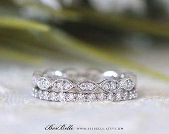 1.22 ct.tw Full Eternity Ring Mixed Set-Brilliant Cut Pave Diamond Simulants-Stackable Ring-Wedding Band Ring-Sterling Silver [65429-2A]
