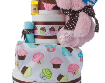Lil' Miss Cupcake Girl Diaper Cake by Lil' Baby Cakes
