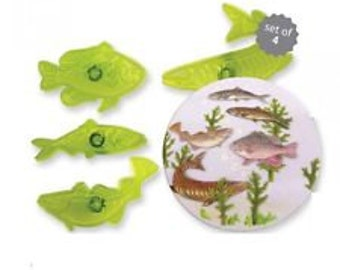 JEM 4 PC Fabulous Fish Cutter - Fondant Gumpaste Clay Crafts