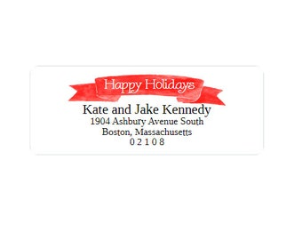 Christmas Card Return Address Labels - Happy Holidays - Stickers - Custom - Personalized - Red