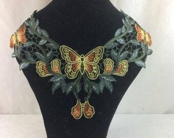 Butterfly Venice Lace Applique Floral Applique Wedding Dress Applique Prom Applique Dress Applique Venetian Lace