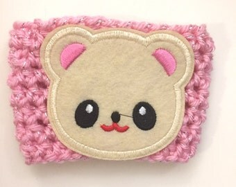 SALE ~ Cute Bear Cup Sleeve - Crochet Cup Cozy - Sparkly Pink Yarn - Cup Hug
