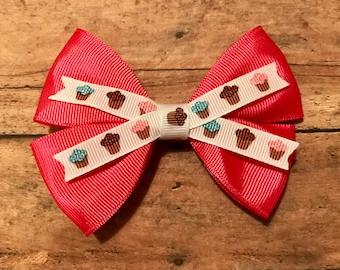 pink cupcake bow, hair bows, hair clips, girls hair bows, hair bows for girls, boutique bows, kids bows