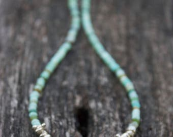 Peruvian Opal Necklace with Thai Hill tribe Silver Beads + Om Charm