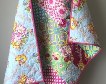 Girl Crib Quilt- Rose Baby Quilt- Bright Floral Quilt- Rose Baby Bedding- Jennifer Paganelli-Floral Baby Quilt-Rose Nursery-Girl Quilt Crib