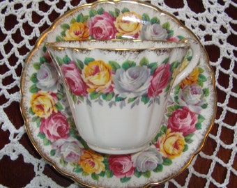 """Gladstone """"Rosemary"""" - Bone ChinaMade in England - Vintage Tea Cup and Saucer - Pink, Yellow and Gray Roses with Brushed Gold Trim"""
